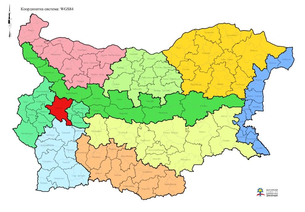 Карта на Зоналните, Регионалните и Местни структури на БСДД