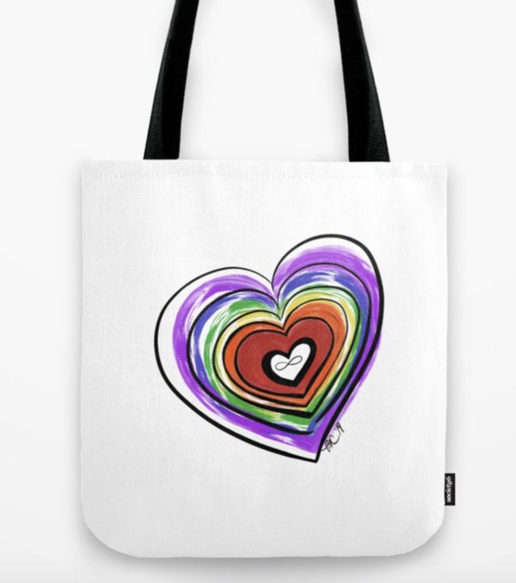 Spectrum Pride Heart tote bag
