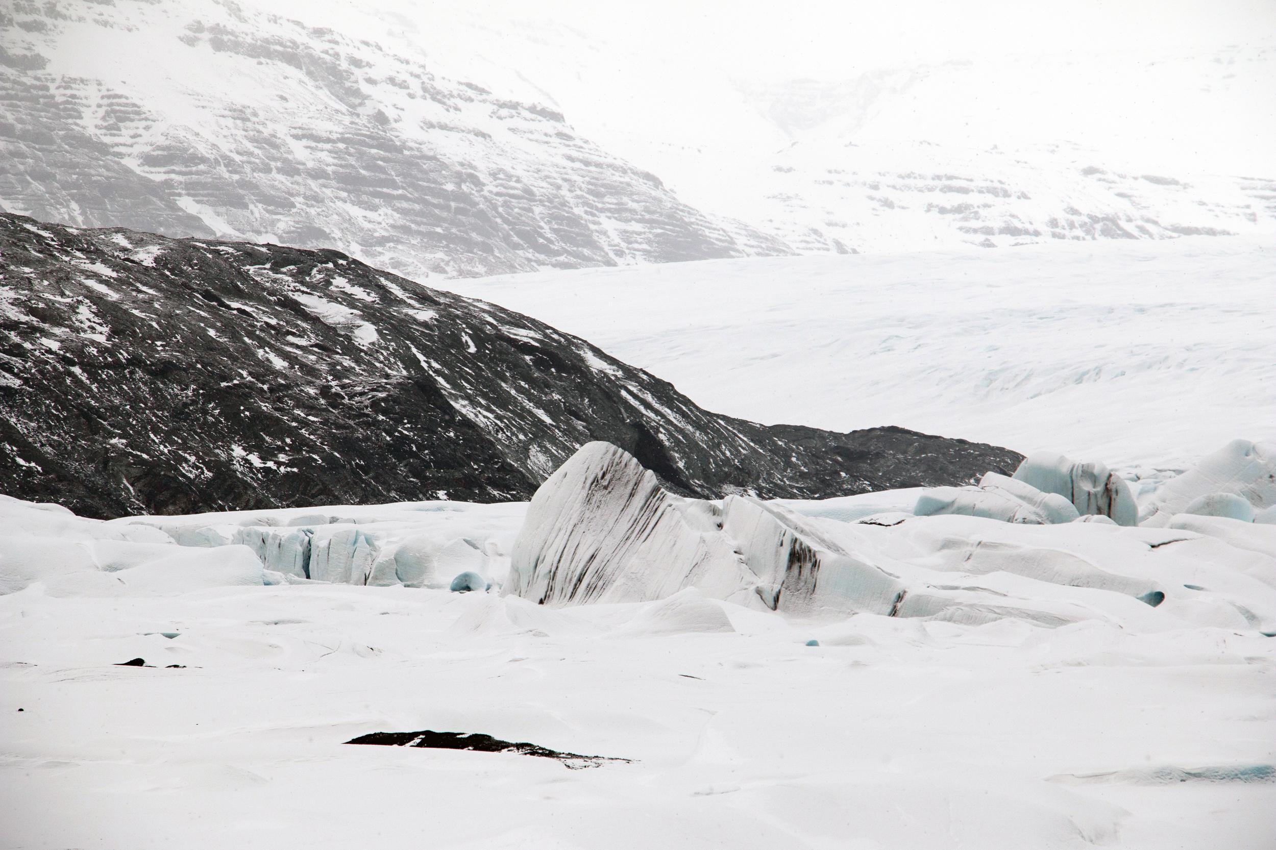 Streaks of ash in the glacier Hoffellsjökull