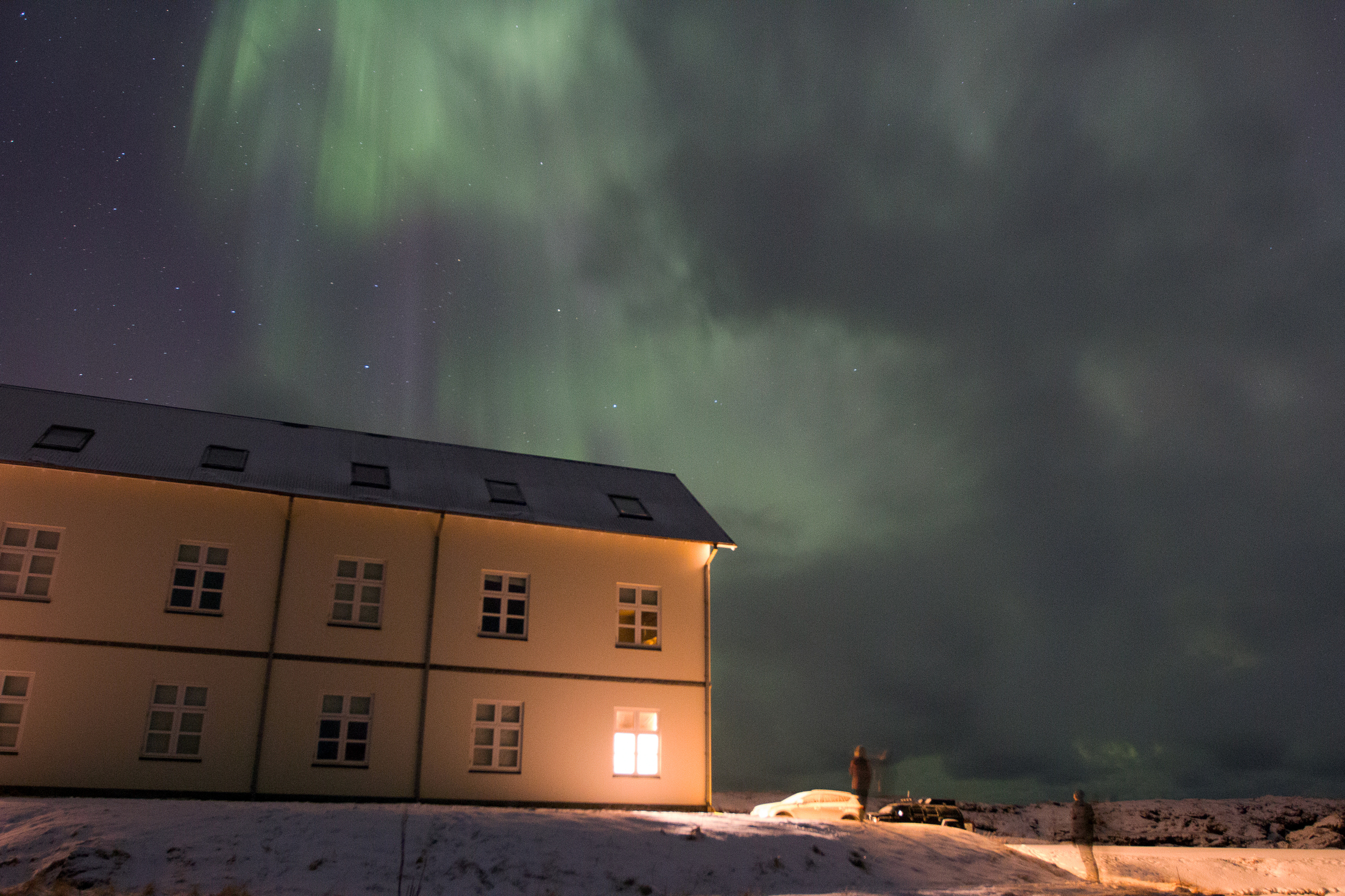 Northern Lights above Hotel Búðir. Somehow, we were the only ones awake for the show.