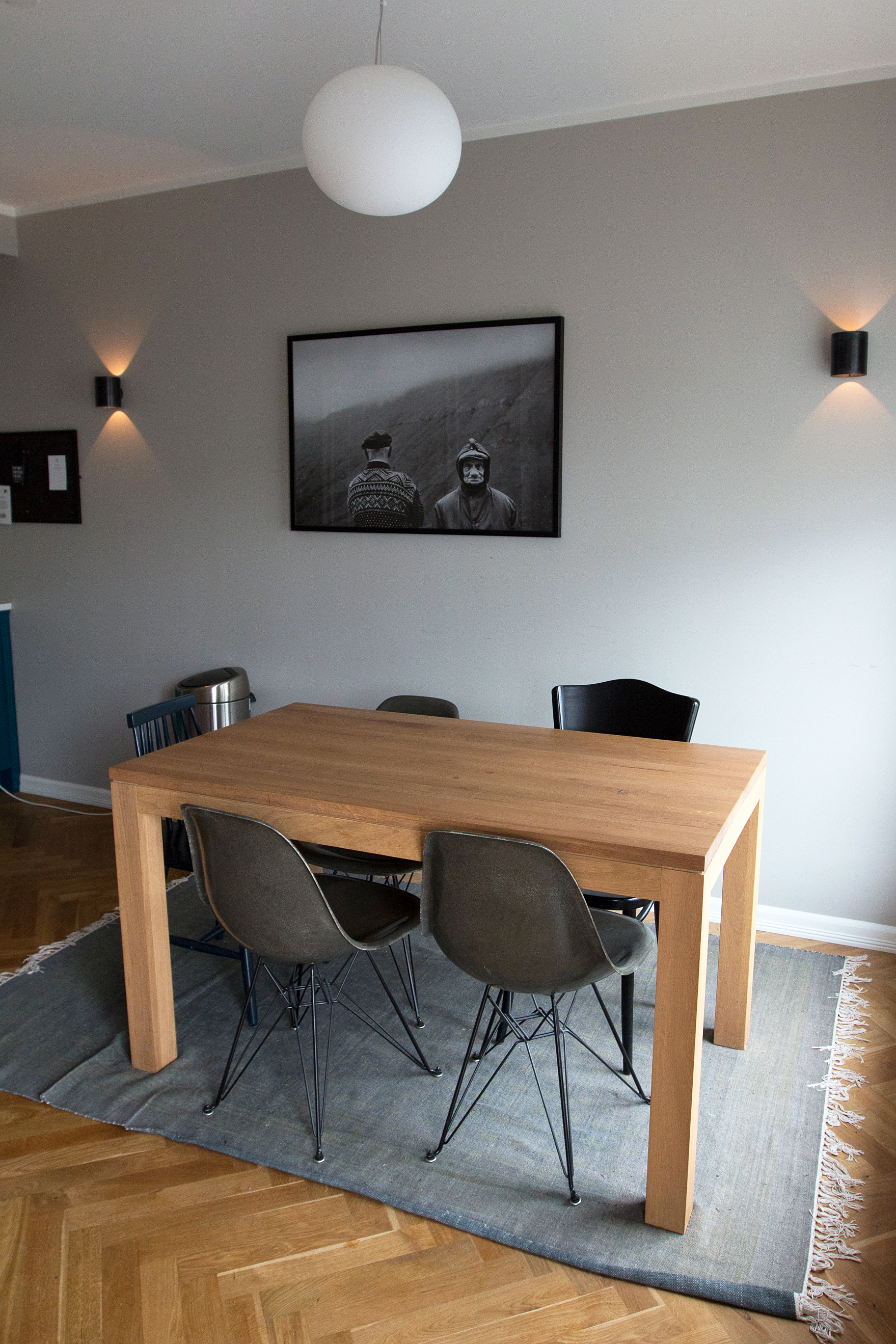 """Kitchen of our """"Bigger"""" room at Hotel Kvosin. My favorite Icelandic photo by RAX Ragnar Axelsson hanging on the wall"""