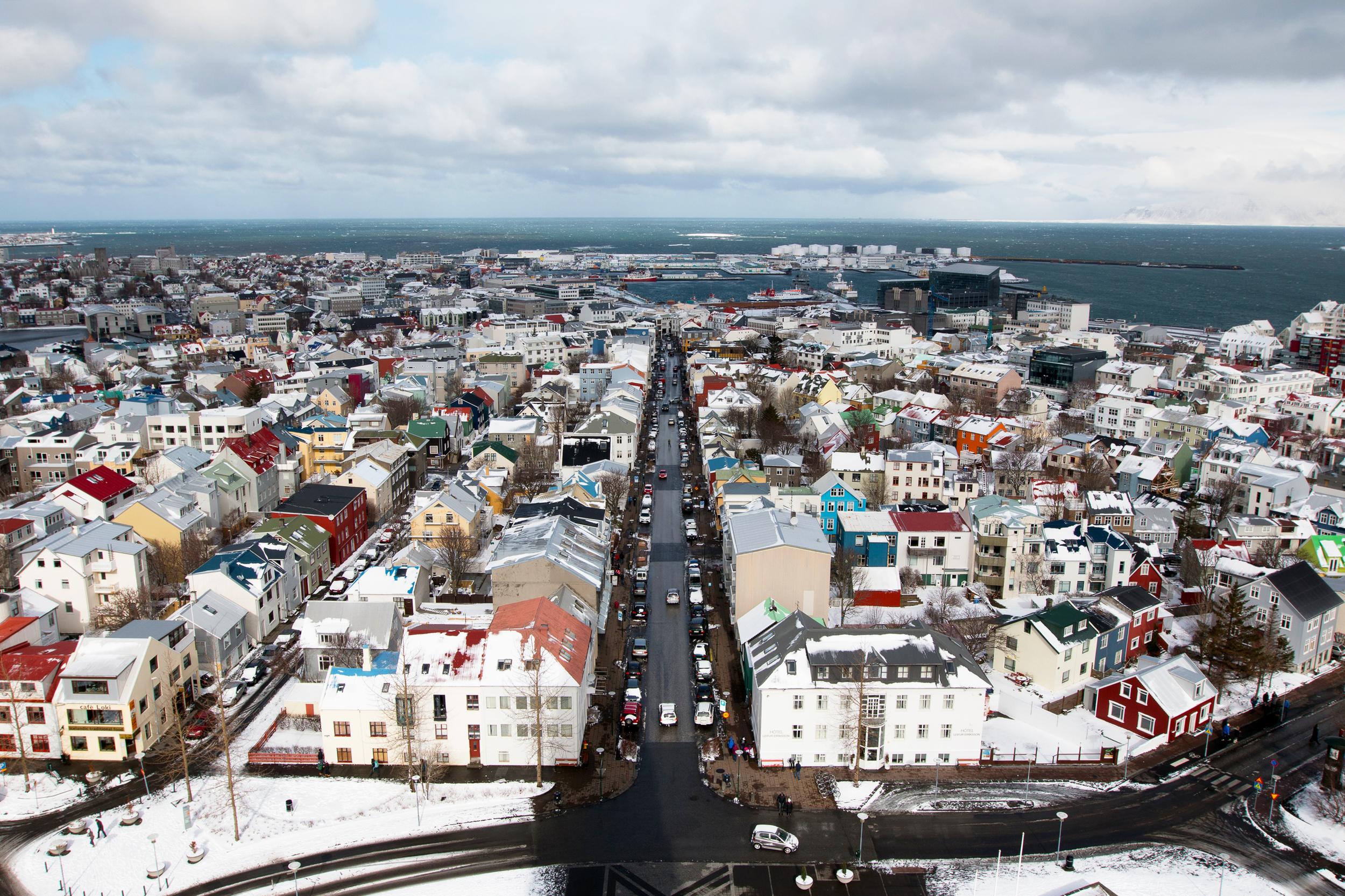 View of Reykjavík from the clock tower of Hallgrímskirkja Church