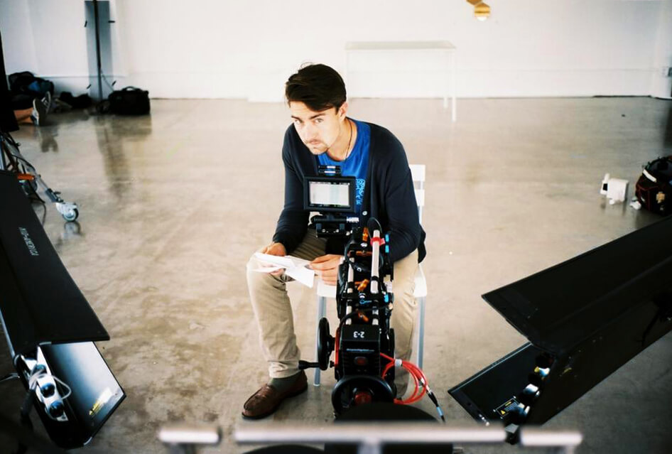 Gavin Garrison on set