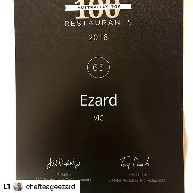 Once again in the Top 💯 Congratulations @ezardmelbourne @chefteageezard @jarrod.diblasi Brilliant achievement and so proud to be a part of the Ezard kitchen #bscommercialkitchens #madeinmelbourne #60years  #Repost @chefteageezard with @get_repost ・・・ So proud to have @ezardmelbourne  again in the @afrmag #top100 @jarrod.diblasi @stu_neil #legends #melbournefood #chefslife