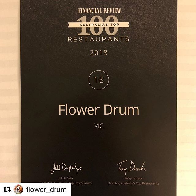 Proud of our long time client and friends @flower_drum for being voted #18 in AFR Top 100 Restaurant Awards last week 👏👏 #Repost @flower_drum with @get_repost ・・・ Once again so proud of our team for achieving another amazing result from the AFR Top 100 Restaurants Awards last night.  To be voted #18 in the country by our peers of the industry is hugely humbling. . #ATR2018 #43yearsstrong #flowerdrum ##afrtop100restaurants #honouredandhumbled #photooftheday #instagood #cantonesefood #Melbourne