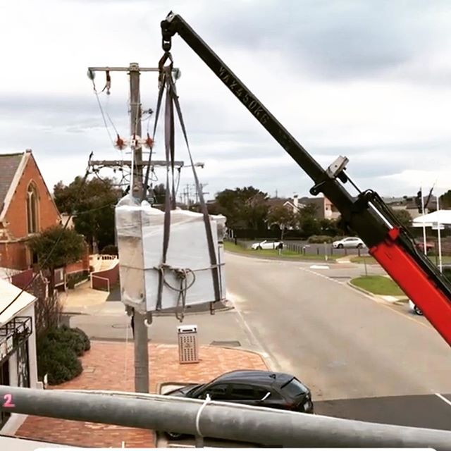 When your units need to be brought in by crane 😳 #mornington #morningtonpeninsula #bscommercialkitchens #madeinmelbourne #60years #commercialkitchens #kitchenequipment