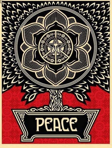 SHEPARD FAIREY  |  Peace Tree   Silkscreen | Edition:300 |18 x 24  | Signed and Numbered
