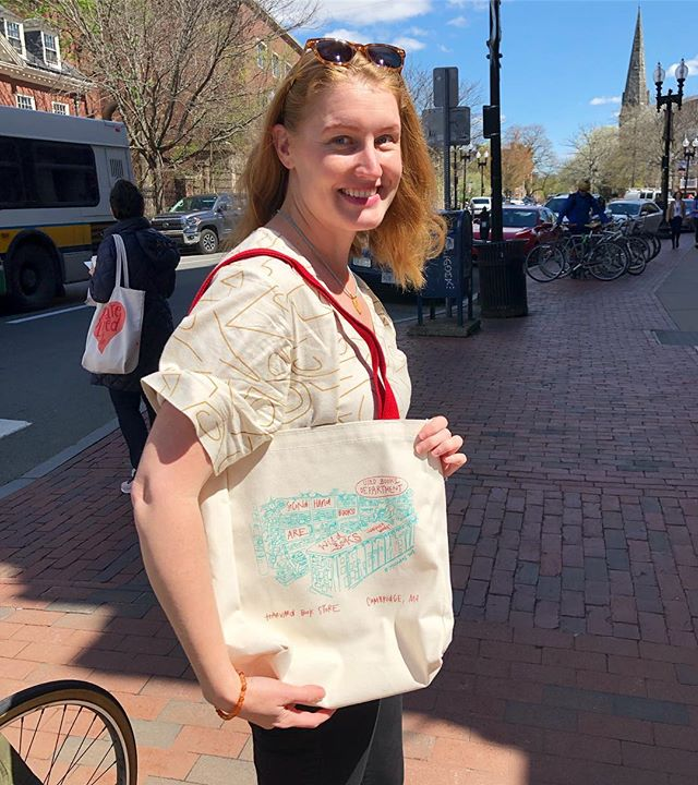 I've spent most of my time since 2010 lurking around the Used Books section of Harvard Book Store, thumbing through a Tessa Hadley or a Flannery O'Connor alongside other furtive, quiet book-lovers. So when Spencer told me he wanted me to illustrate that section with a quote by Virginia Woolf for their 2019 tote, I was well chuffed (is what I would say if I were English, which I'm not!). @harvardbookstore will be carrying this tote in-store tomorrow, but I also have a few totes to sell myself so DM me if you'd like to buy one ($25)! And thank you to Spencer and everyone at Harvard Book Store for this opportunity. #bookstagram #booklover #lit #totebag