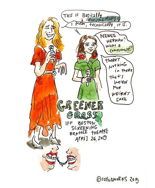 """Some of my live drawings from IFF Boston, featuring the comedy """"Greener Grass"""" and the documentaries """"We Are Not Princesses"""" and """"Bei Bei."""" If you're enjoying these drawings and want to support me as I make them, my Venmo is @susan-coyne (my avatar is a pic of me as a small child) and I have PayPal, too (can provide it to those who DM me). Thank you @iffboston for putting together so many incredible films! Always a treat. #illustration #drawing #movies #illo #iffboston2019"""