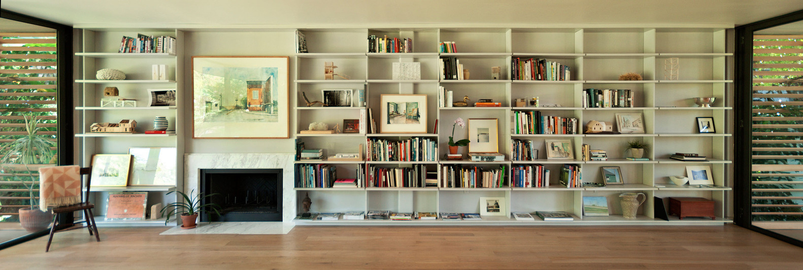 the bookcase in the living area.