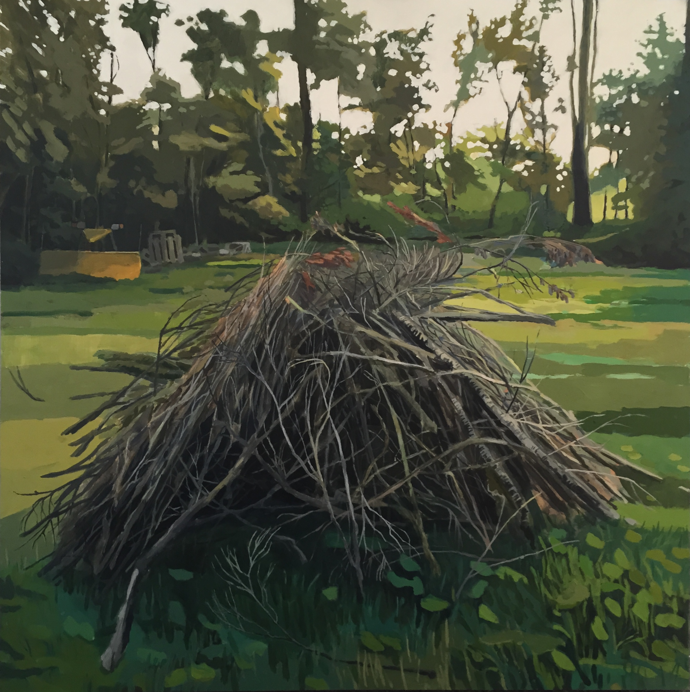 "brush pile                   2014                         24"" x 24""            acrylic on panel"
