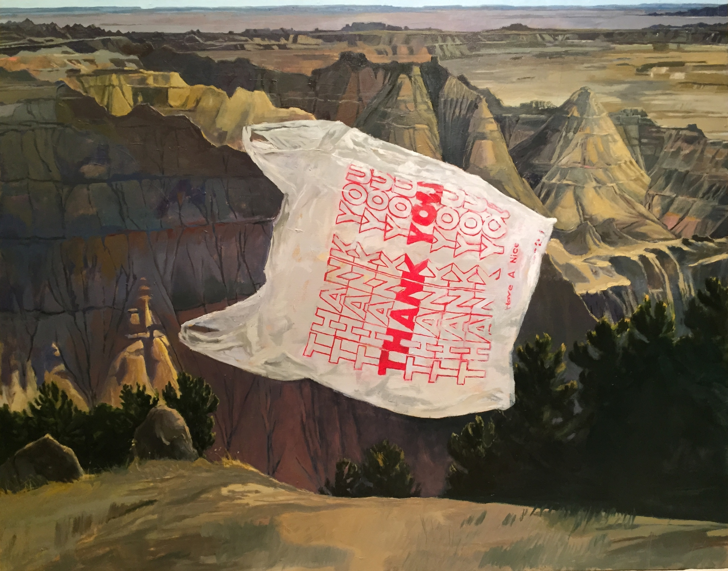 "badlands                       2015                         38"" x 48""                   oil on panel"