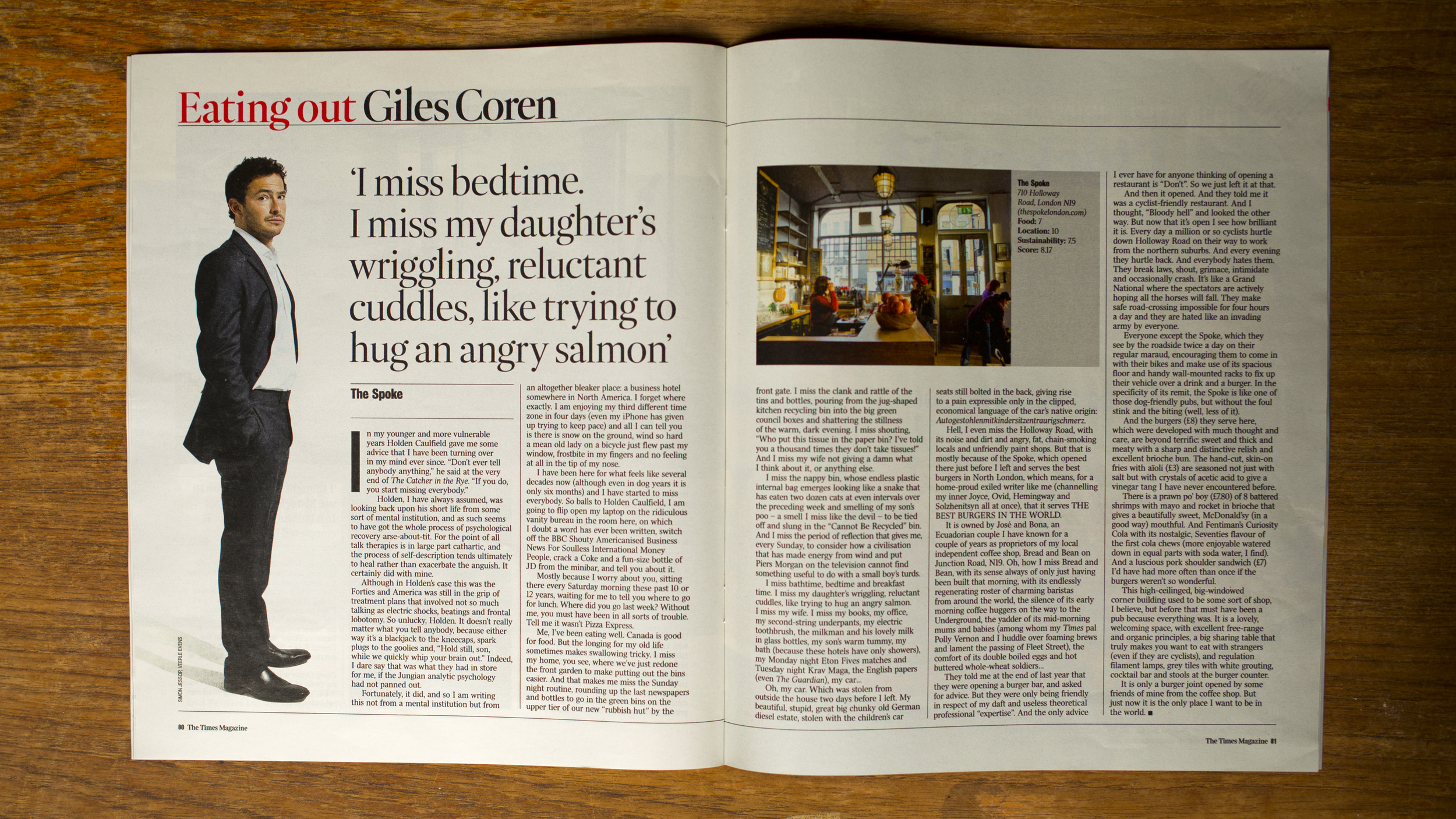 The Times Magazine    Eating out with Giles Coren. Interior photography by Veerle Evens