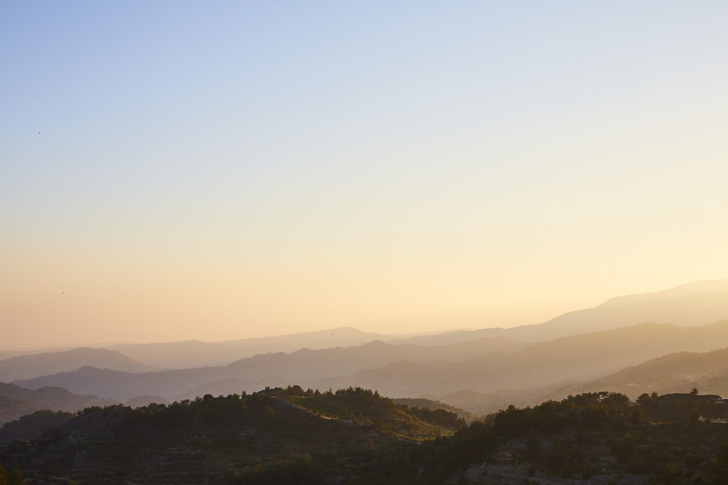 Beautiful light during the golden hour in the Troodos Mountains