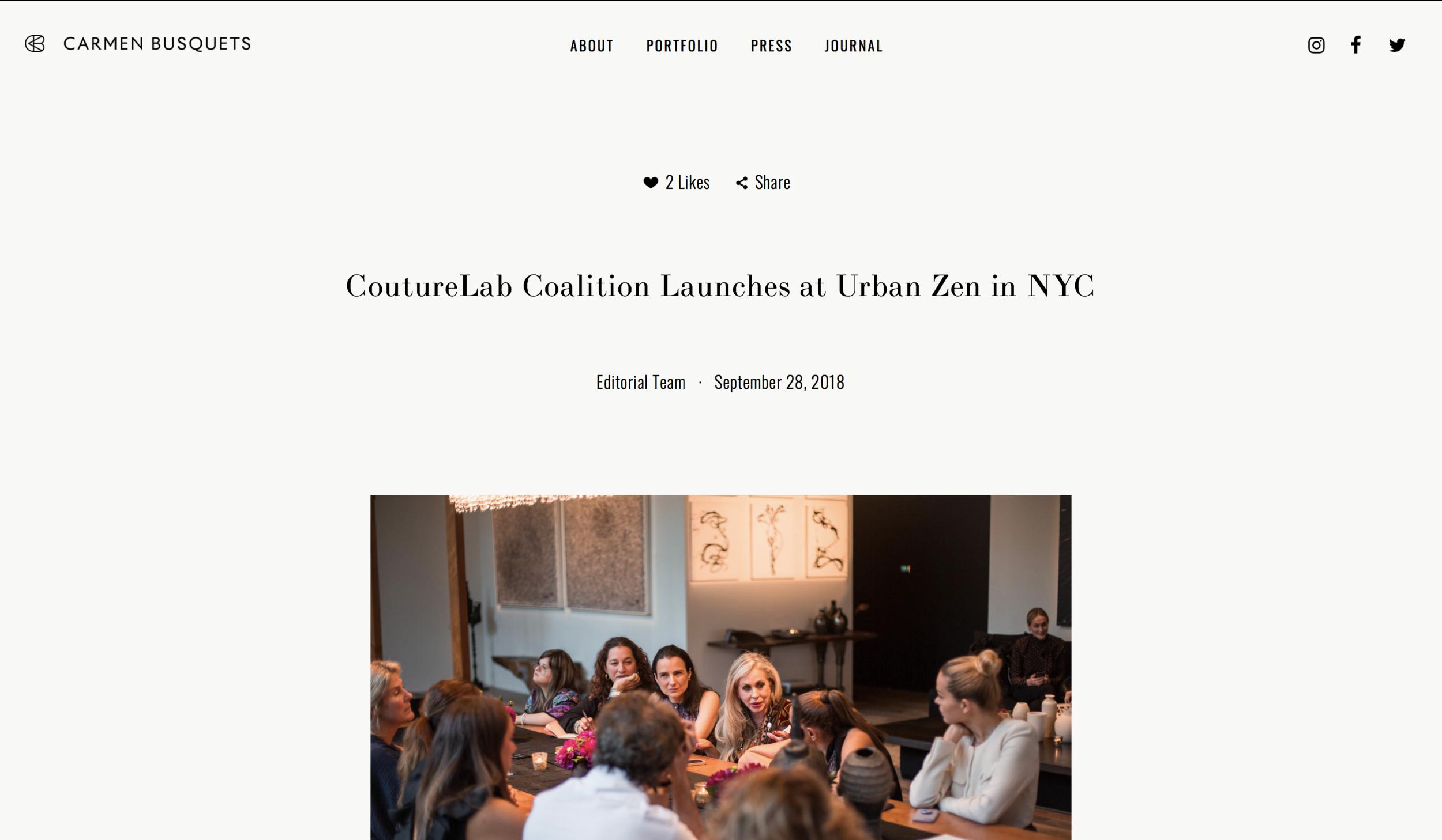 - CoutureLab Coalition Launches at Urban Zen in NYC(Carmen Busquets)https://www.carmenbusquets.com/journal/post/couturelab-coalition-launches-at-urban-zen-in-nyc