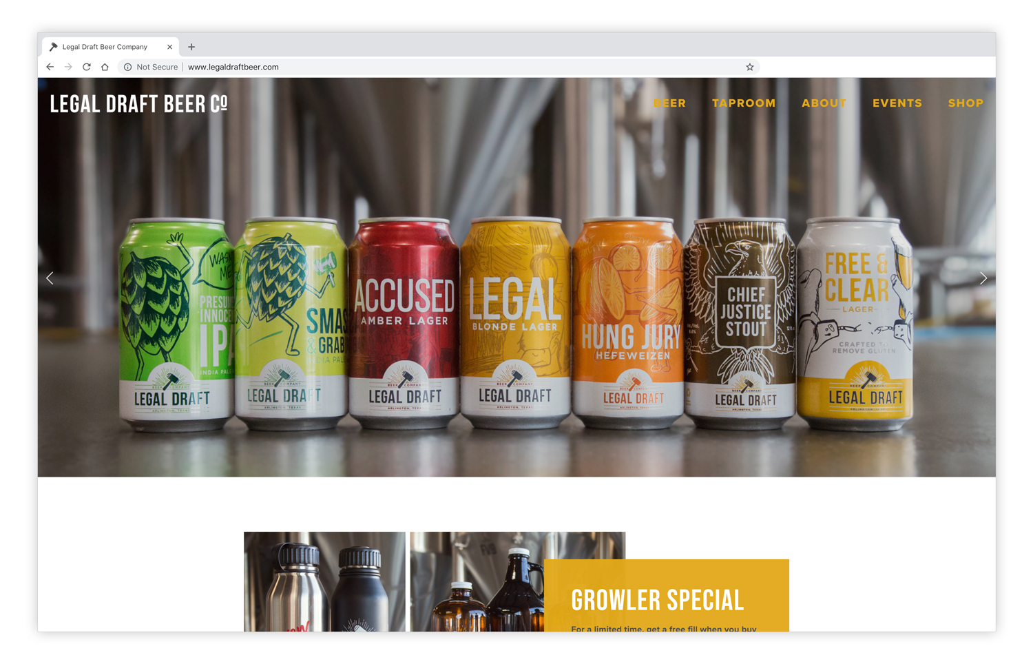 Legal Draft Beer Co . - Branding, Packaging, Photography and Website