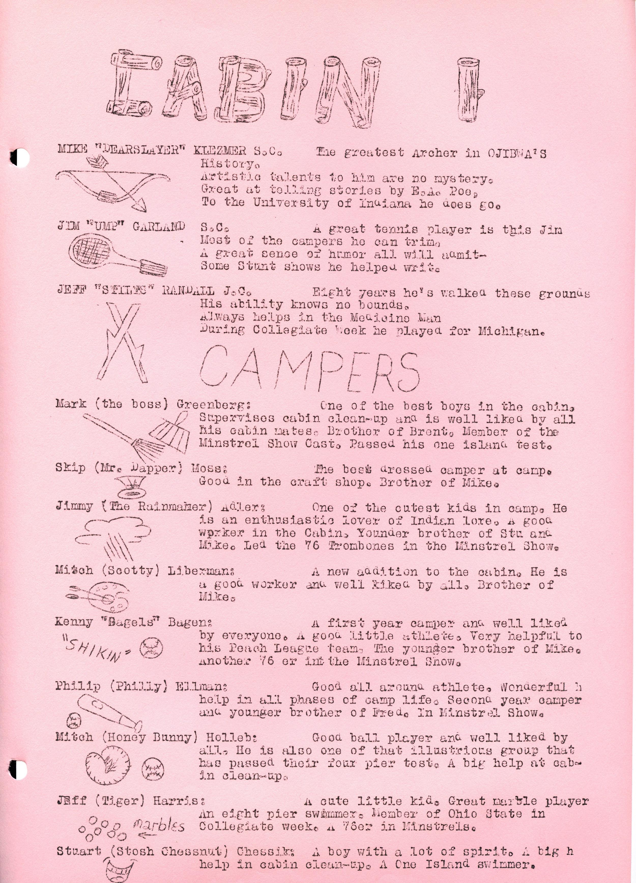 1958 Warrior — Camp Ojibwa History Project