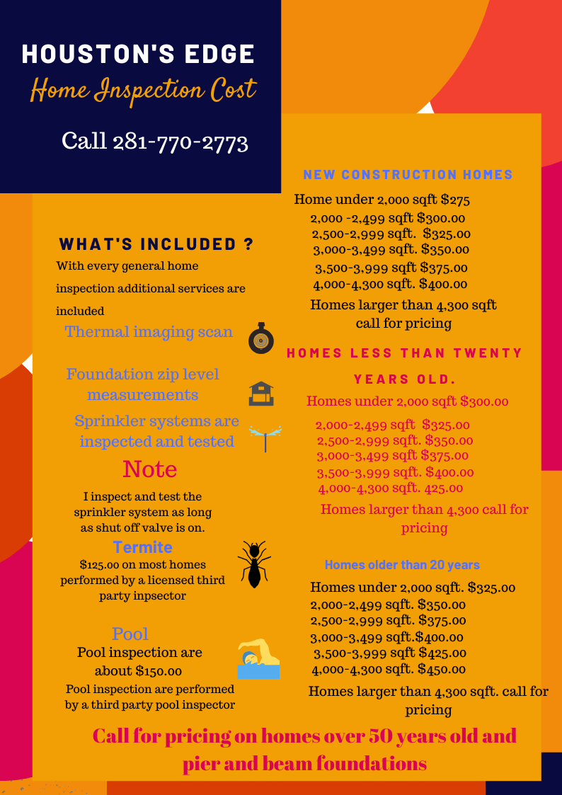 Houston home inspection pricing list