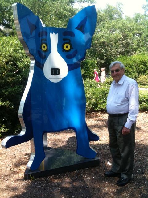 Blue Dog sculpture by artist George Rodriguein the Bestoff Sculpture Garden.