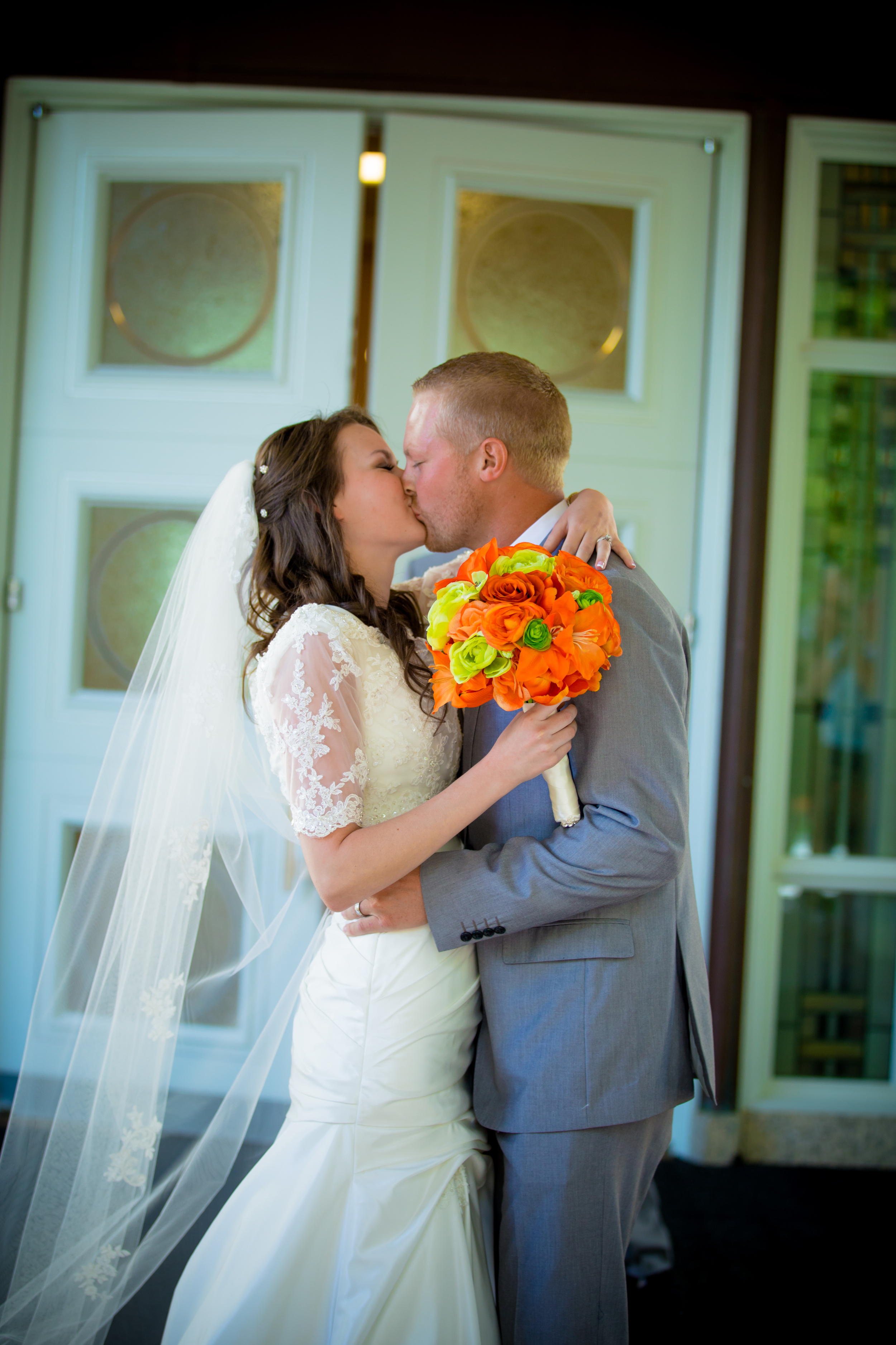Coming out of the temple and giving the first kiss as a married and sealed couple.