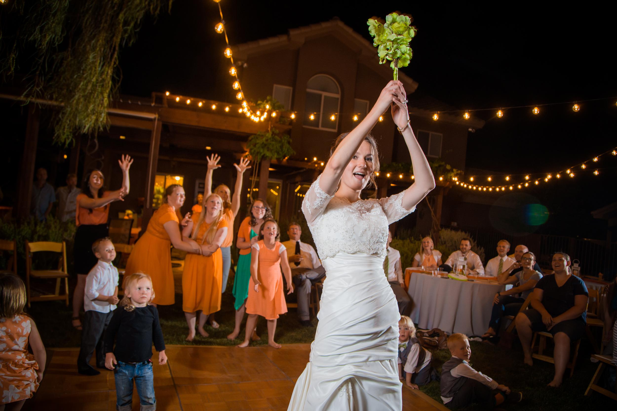 The bouquet toss.