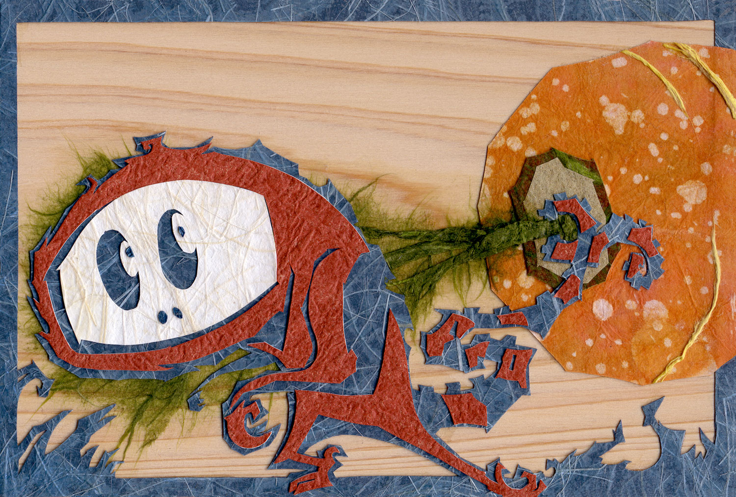 ⊛   The Carrot Thief    ⊛  cut + torn washi paper / wood   ⊛  4 x 6 in / 100 x 150 mm   private collection