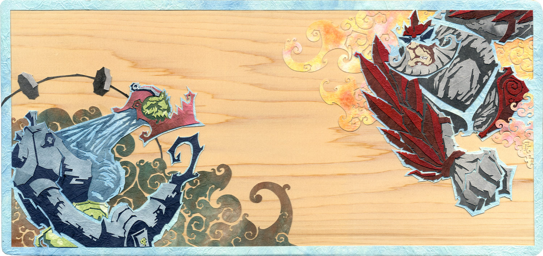 ⊛  Raijin and Fujin; God of Thunder, God of Wind   ⊛ cut paper + washi / wood (cherry)  ⊛ 7.25 x 15.4 in • 184 x 390 mm