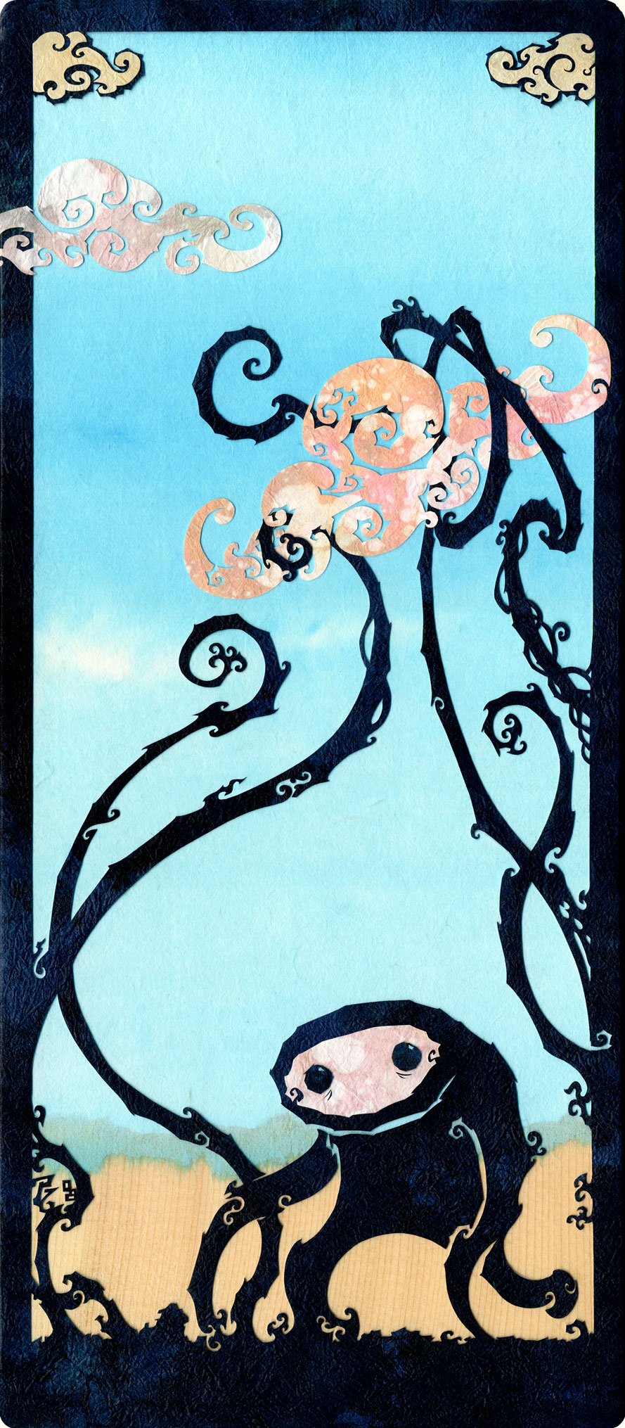 A Bright and Sunny Day  MEDIUM: CUT + TORN PAPER / WOOD   SIZE: 6 5/8 X 14 1/2 IN • 18.8 X 36.8 CM