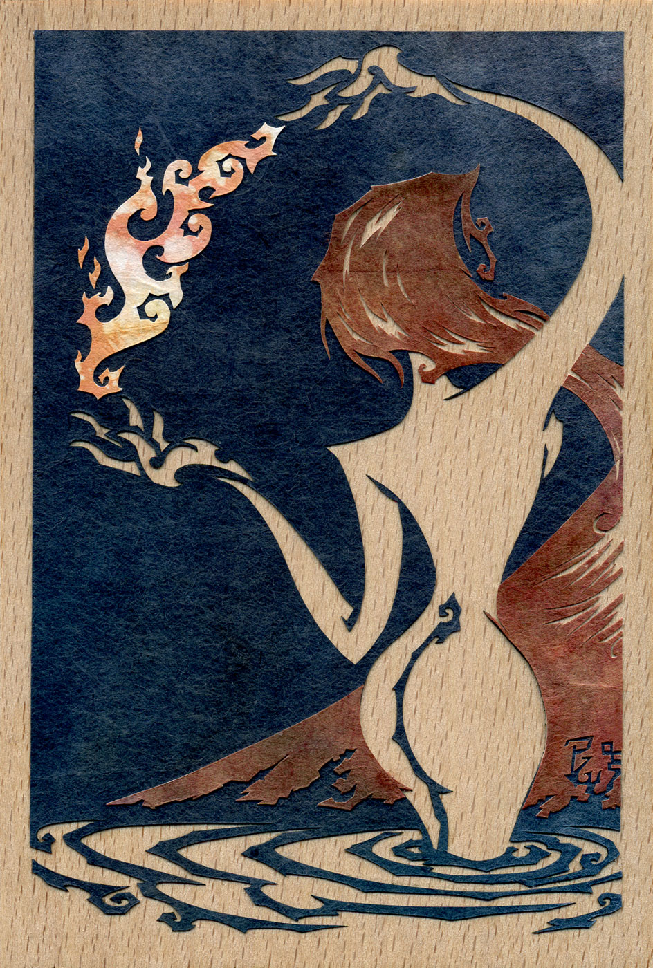 ⊛  She Who Brings the Fire   ⊛ cut paper + washi / wood  ⊛ 6 x 4 in • 150 X 100 mm   ⊛ private collection