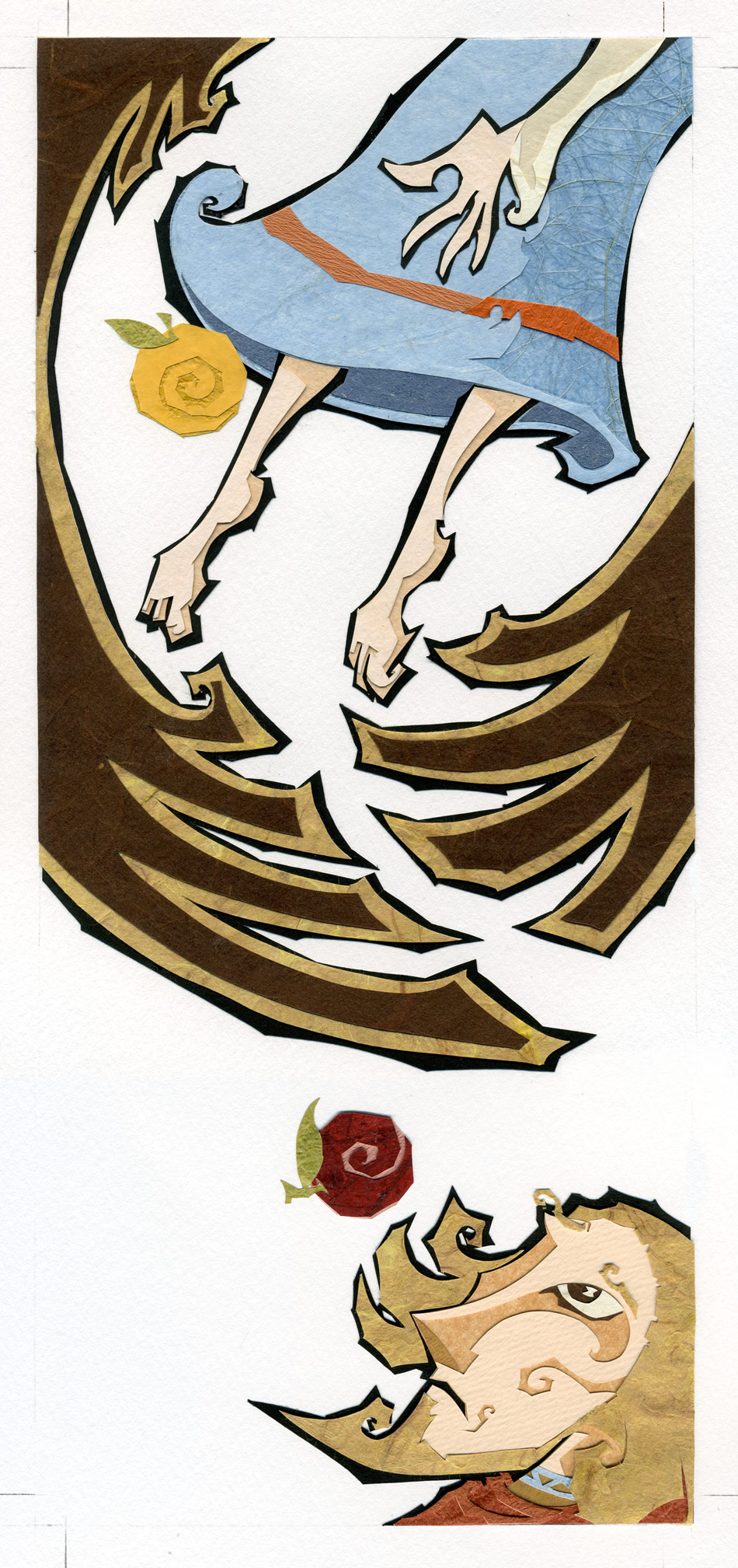 ⊛ The Taking of Idun   ⊛ cut paper + washi / illustration board