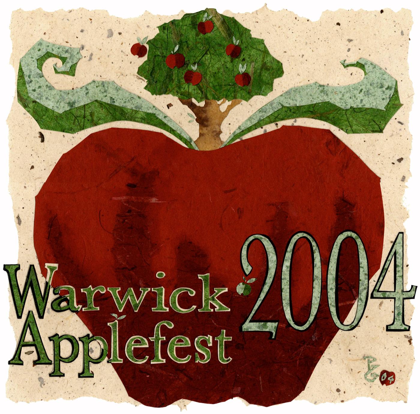⊛  Warwick Applefest 2004 Logo Design (for posters, t-shirts, etc.)   ⊛ cut + torn paper / illustration board  ⊛ 10 x 10 in • 254 x 254 mm