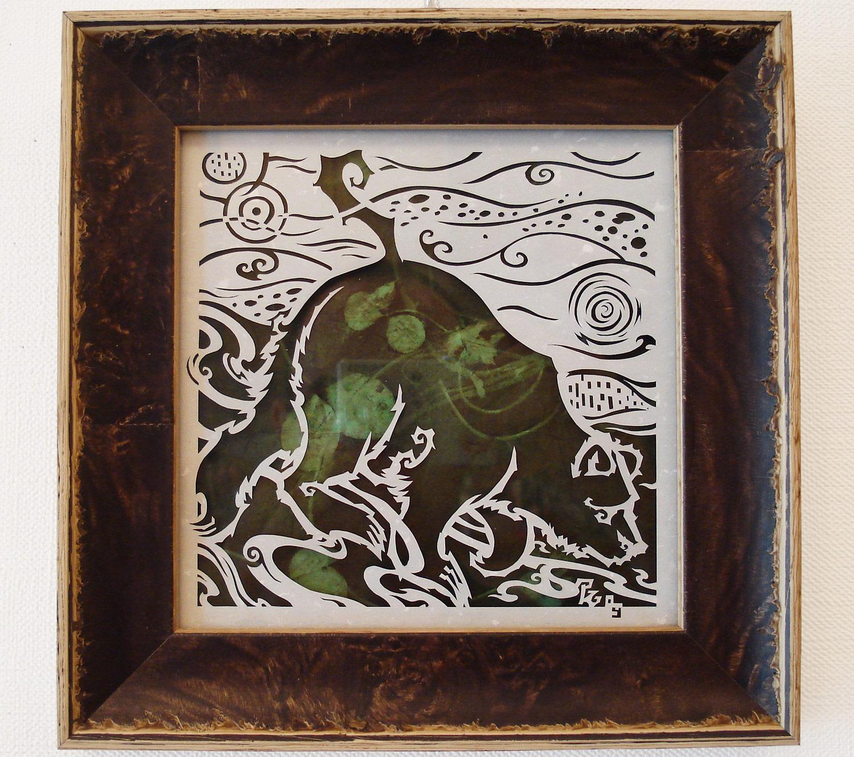 ⊛  A Great Ol' Bear   ⊛ dimensional cut paper  ⊛ 5 7/8 x 5 7/8 in •149 x 149 mm
