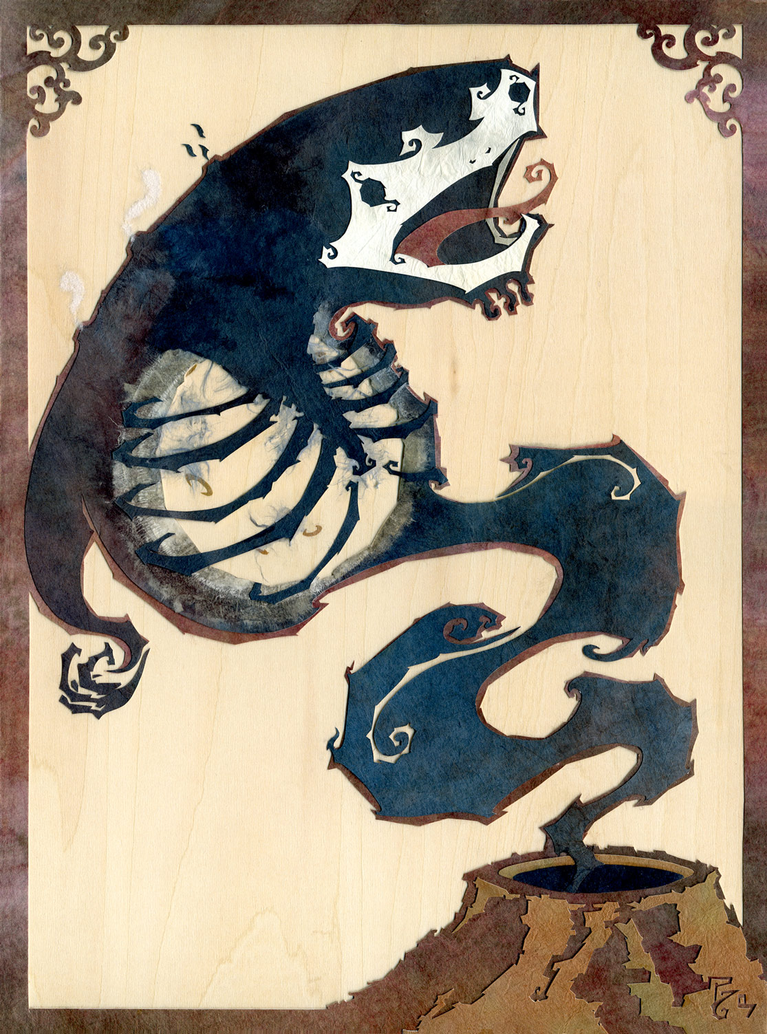 ⊛  And the Moon Was Held Prisoner in His Chest   ⊛ cut and torn paper + washi / wood ⊛ 12 x 8.9 in • 305 x 225 mm