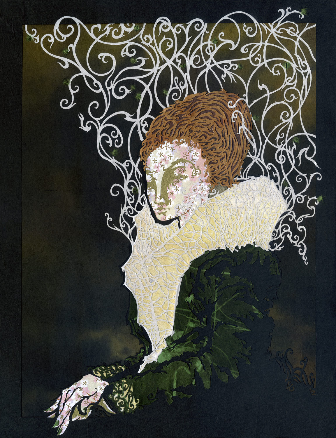 ⊛  Portrait of Lady in Green   ⊛ cut + torn washi + chiyogami paper / wood  ⊛ 13.8 x 10.6 in / 350 x 270 mm  ⊛ private collection