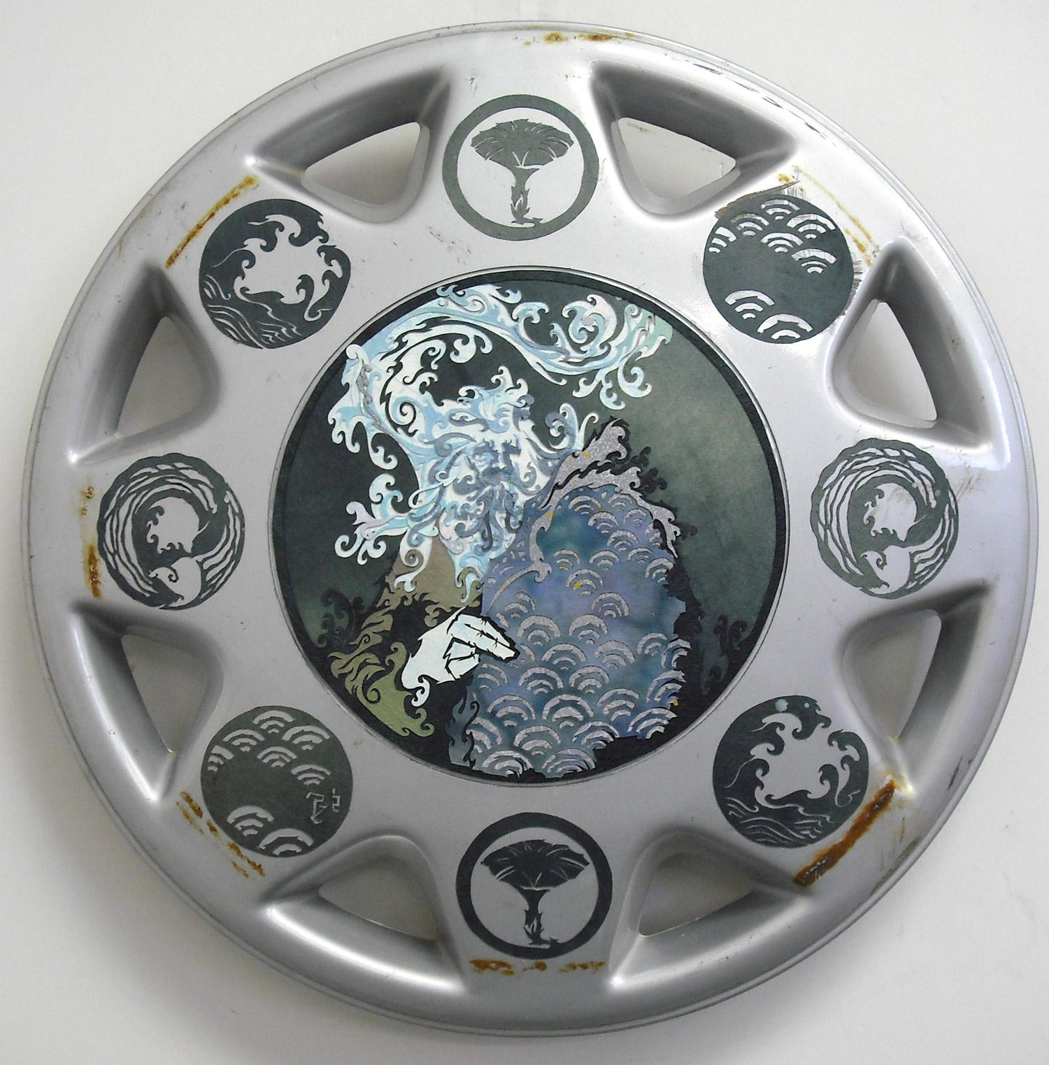 ⊛ Portrait of Ebb with Kamon  ⊛ cut paper / hubcap (fiberglass?)  ⊛ hubcap-sized