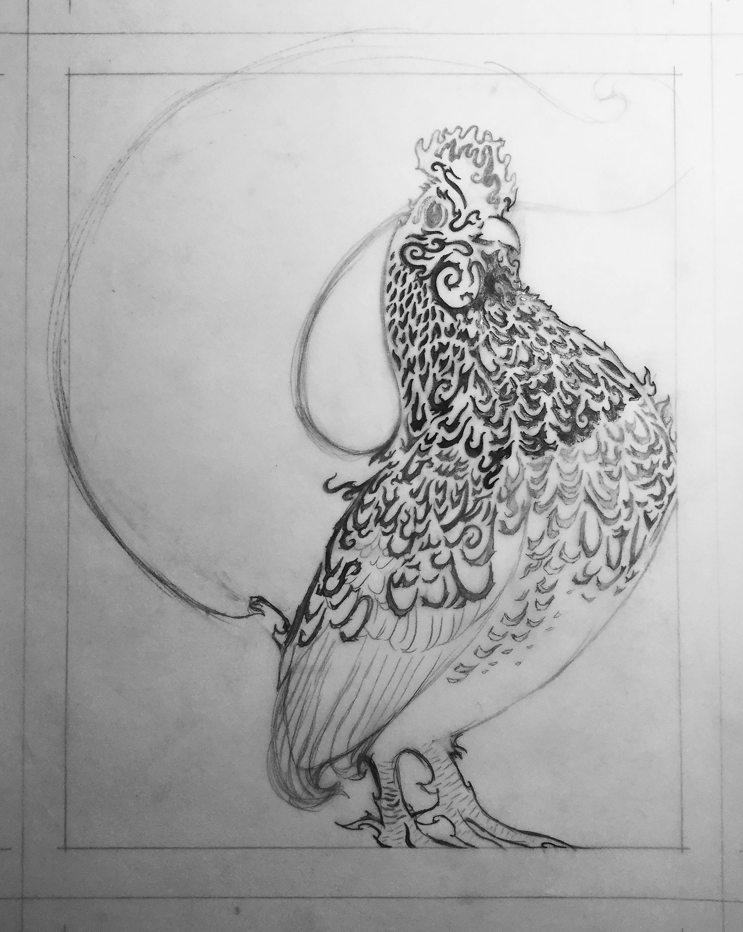 1st Drawing • jaggy feathers