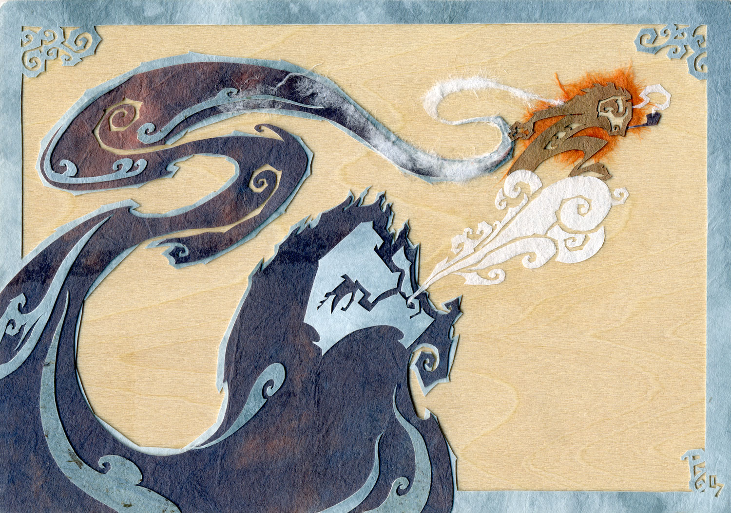 ⊛  Hitching a Ride on the Breath of Fortune   ⊛ cut + torn paper + washi / wood  ⊛ 4 x 6 in •100 x 150 mm  ⊛ private collection