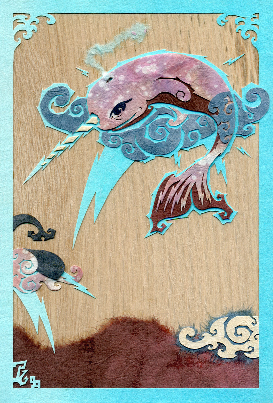 ⊛ The Electric Narwhal ⊛ cut + torn paper + washi / wood ⊛ 6 x 4 in •150 x 100 mm ⊛ private collection