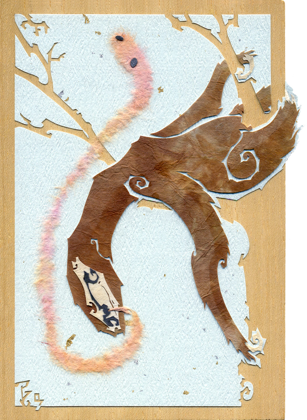 ⊛ cut + torn paper / wood ⊛ 6 x 4 in • 150 x 100 mm  ⊛ private collection