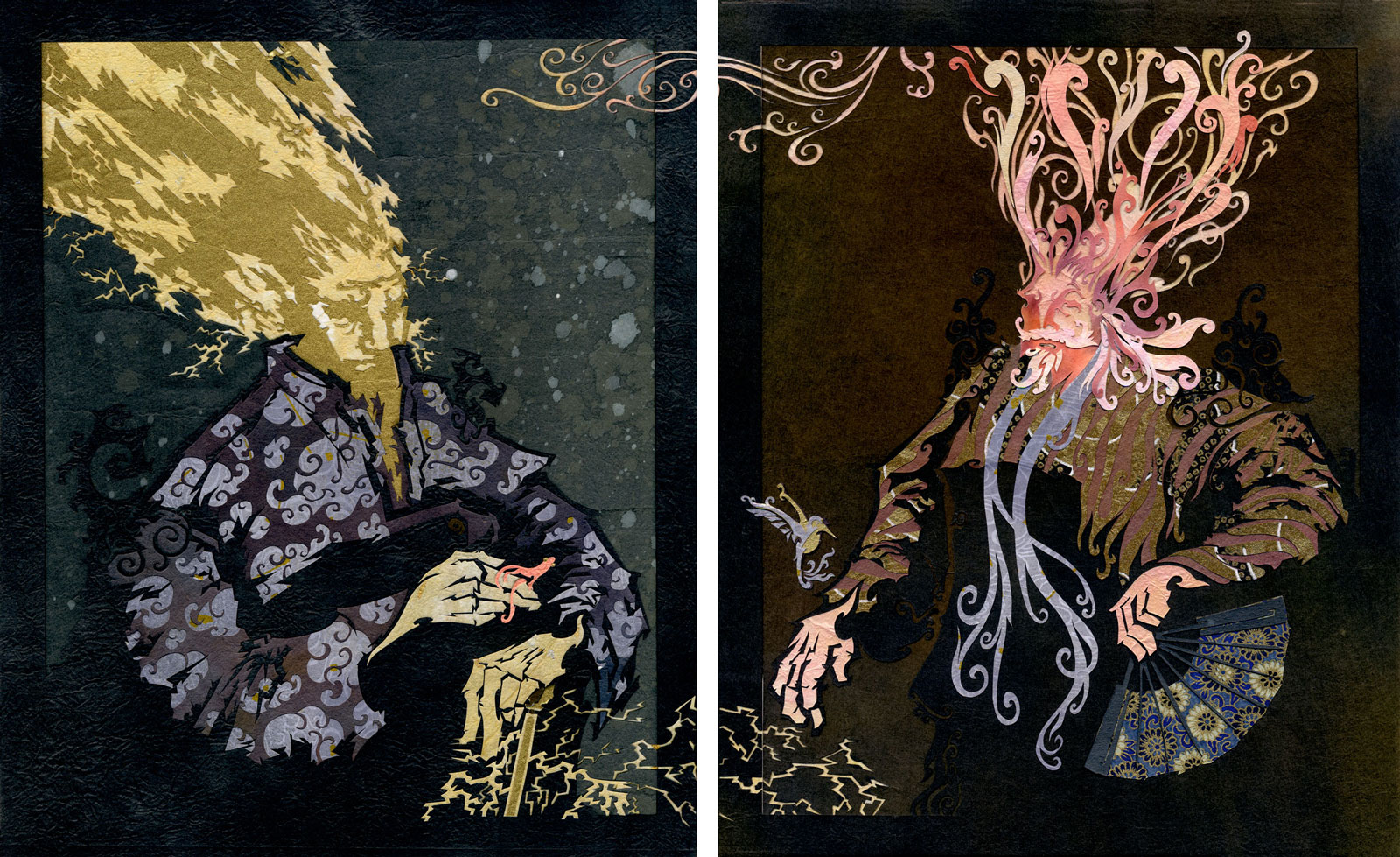 Portrait of Thunder in Contemplation  ⊛  Portrait of Wind with a Fan  Diptych