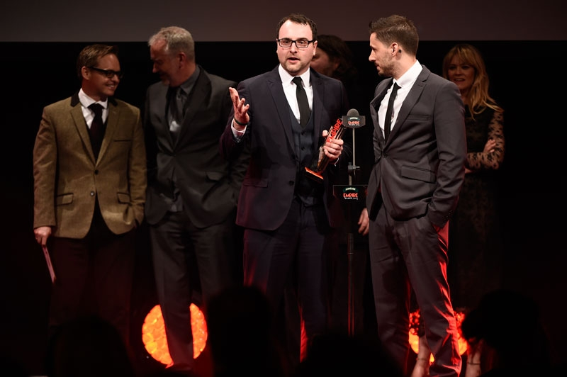 Receiving our award from TV/Radio presenterEdith Bowman, Directors Ben Wheatley & Jon s.Baird and Bauer Media UK Cheif Executive Paul Keenan. Photo courtesy of Empire Online