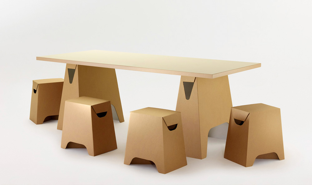 Paper Tiger Trestle Table and Square Stools