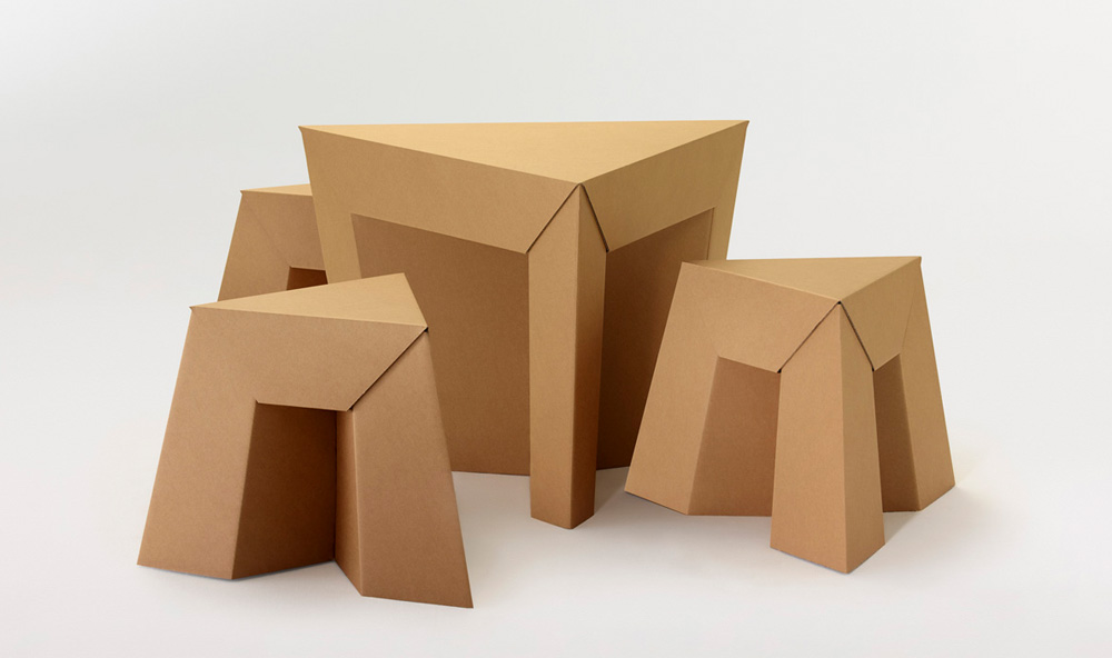 Paper Tiger Table and Stool Set