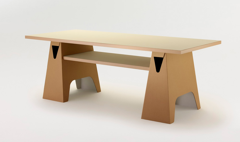 Paper Tiger Trestle Table with Shelf