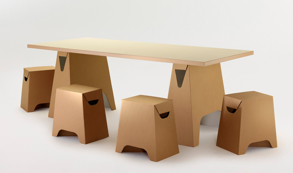 Paper Tiger Trestle Table and Stool Set