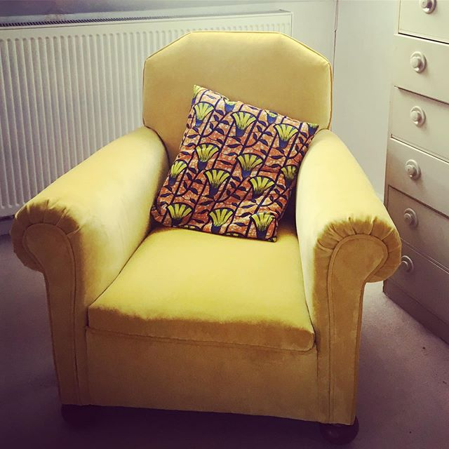 Hilda the beloved family heirloom gets a new life in Yellow velvet! #upholstery #linwoodfabric #🌞 #dontbuynewrenew  #familyheirloom #traditionalupholstery #peckham #westnorwood #velvetupholstery