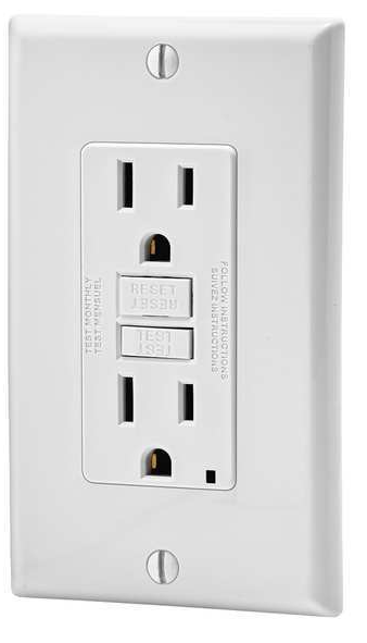 Your typical GFCI outlet, available in 15 amp and 20 amp varieties