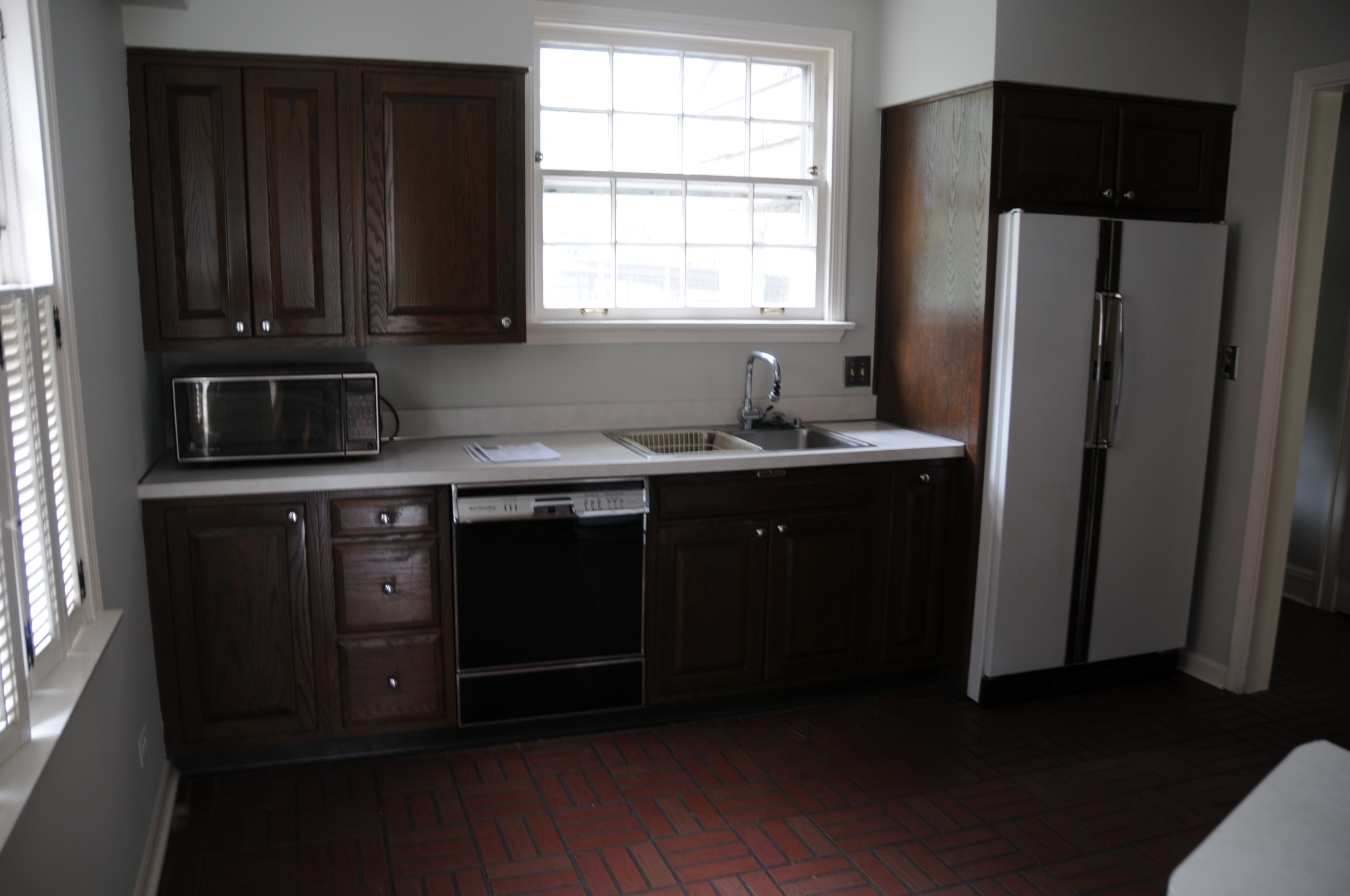Half the original kitchen.Old, dark, and tiny.