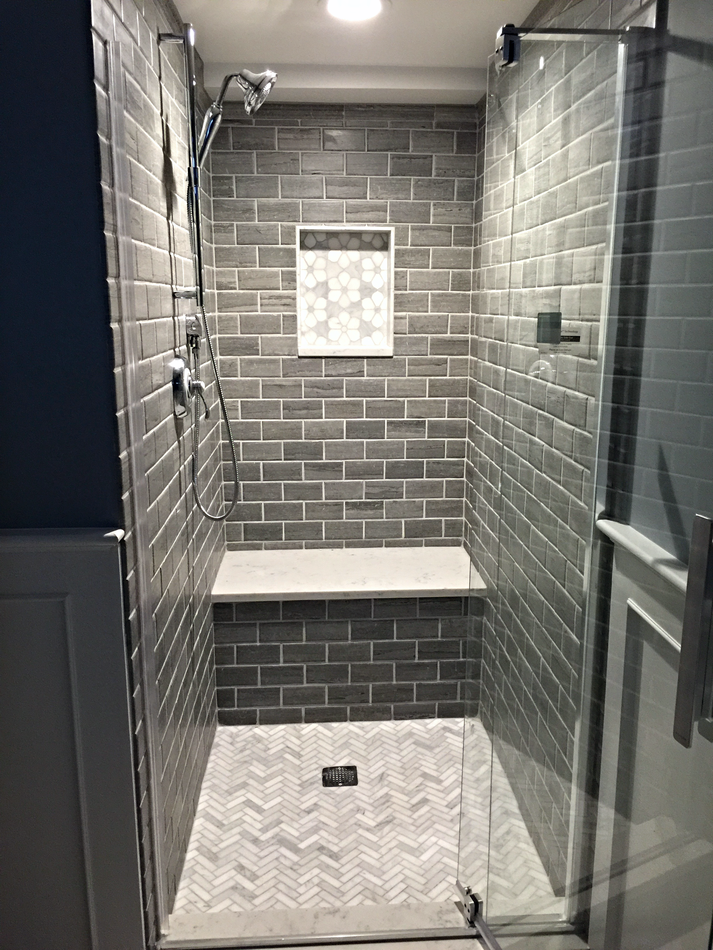 We've seen a few basement showers that are drab and tiny. Not this one.