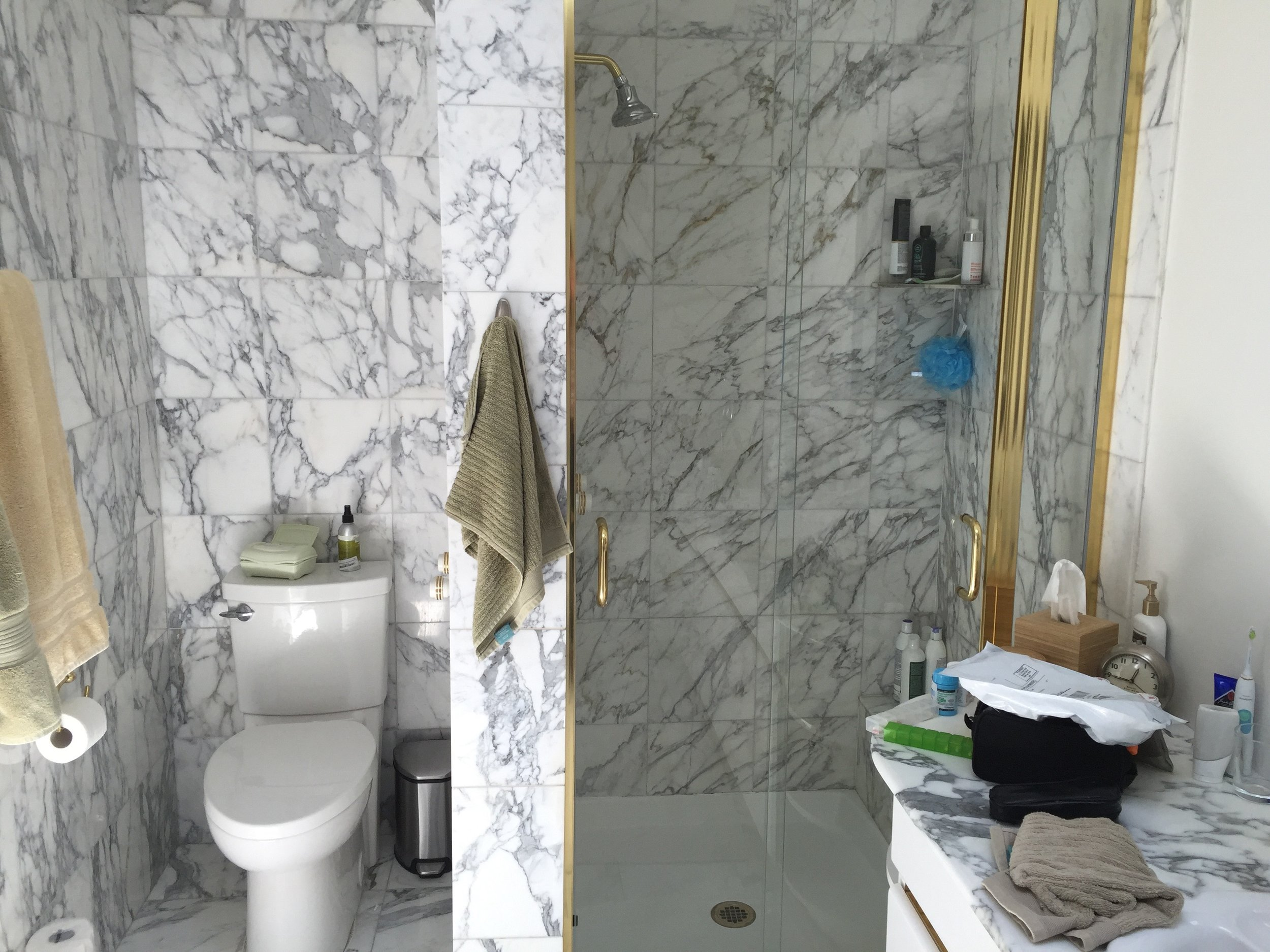 The shiny brass and the same 12x12 marble on nearly every surface tell almost the whole story about the design of this bathroom.